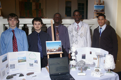 Students from the Meteorology class with their exhibits.