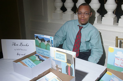 With the Children's books created by the students in the Advanced Art class.