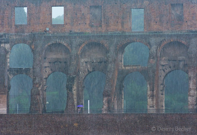 Coliseum during driving rainstorm