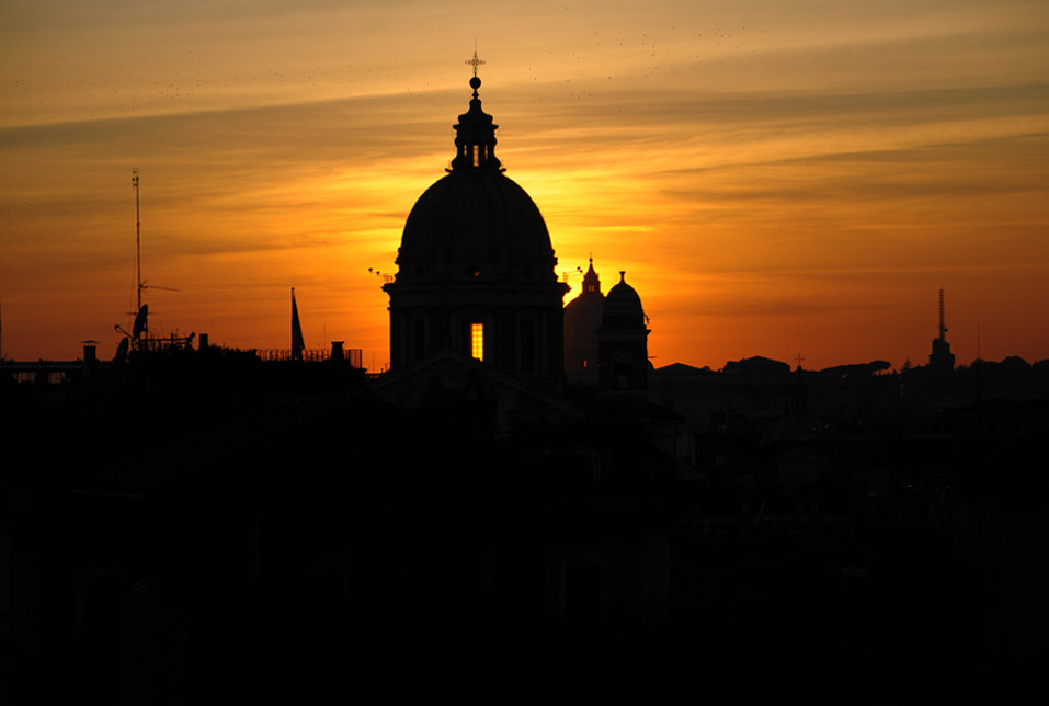 Sunset from atop the Spanish Steps.