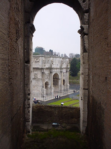 The Arco di Constantino (2)  A bit of an arty shot taken through the arches on the upper tier of the Colosseum.