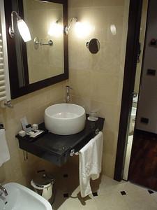 The Hotel Bathroom (2)  The basin side of the bathroom.