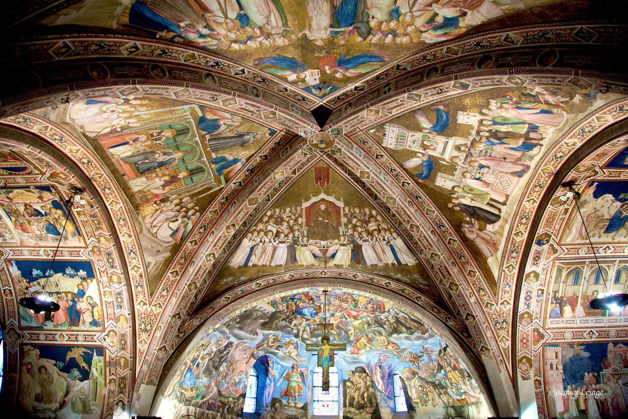 Voûte de l'église inférieure St.-François d'Assise , Italie Fresque d'après Giotto.