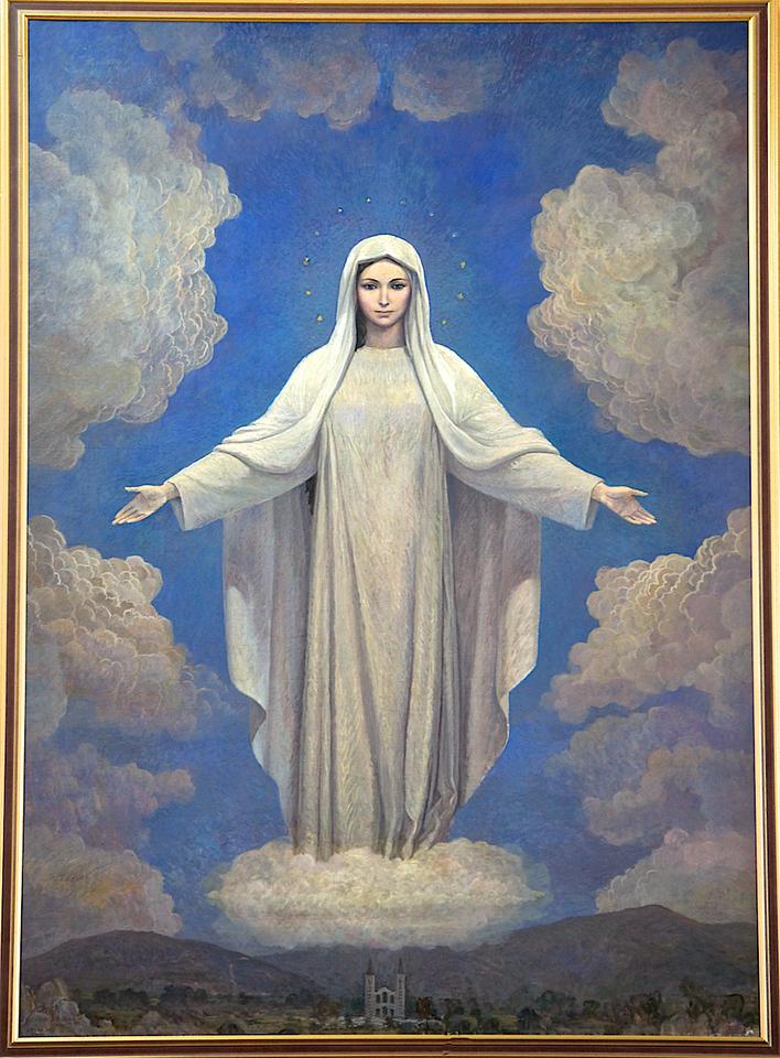 Représentation de la Vierge dans la petite chapelle sur le site de Pèlerinage de Medjugorje.