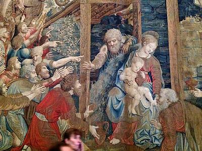 Musée du Vatican. Tapisserie représentant la Nativité de Jésus.