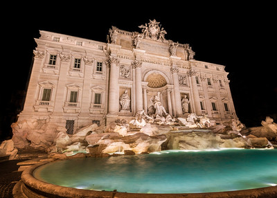 Alone at the Trevi Fountain in Rome, Italy – perhaps the most famous fountain in the world?