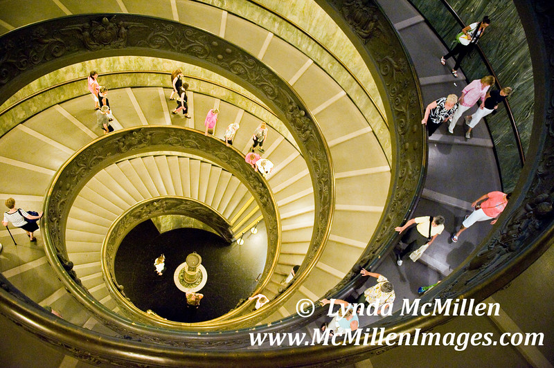 Descending the Vatican Museum stairs.