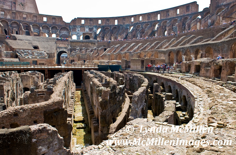 A gladiator's view of the arena and spectator seating.