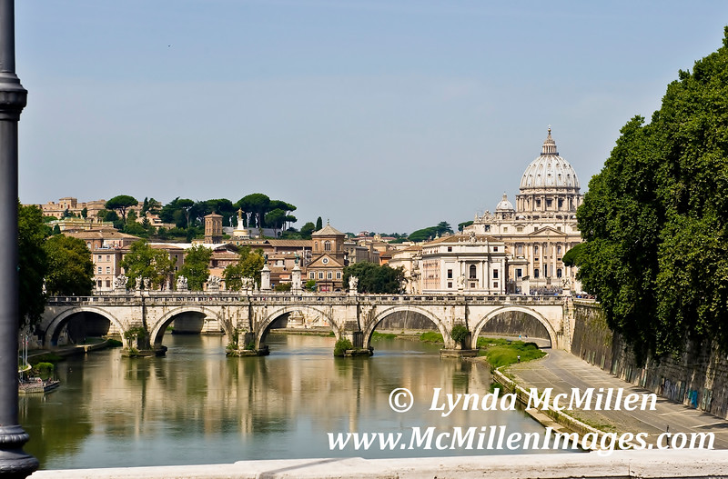 A view of St. Peter's from bridge over Tiber River