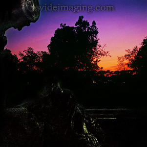 Sunset in Villa Borghese Park December 31, 1993. Part of Gothe statue in foreground.