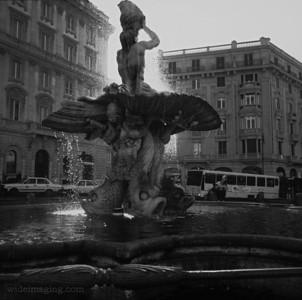 Bernini's 1643 Triton fountain in Piazza Barberini, from December 26, 1993.