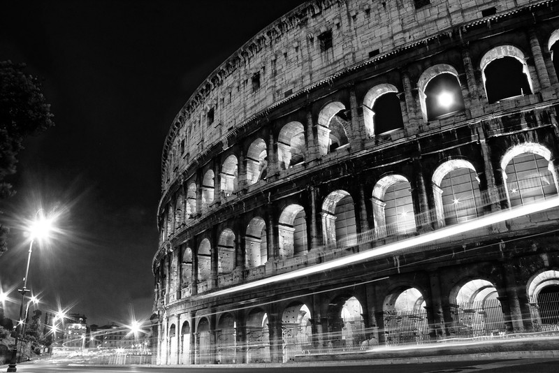 Light trails at the Colosseum, Rome