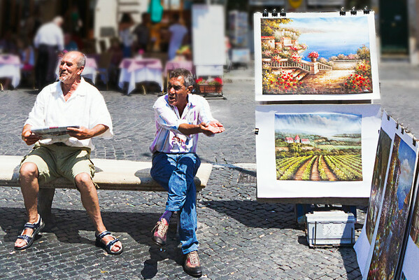 Selling artwork, Piazza Navona, Rome