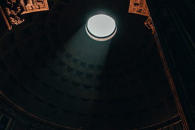 Sunlight Coming Through the Oculus of the Pantheon in Rome Italy