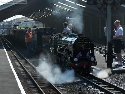 Typhoon backs onto a train