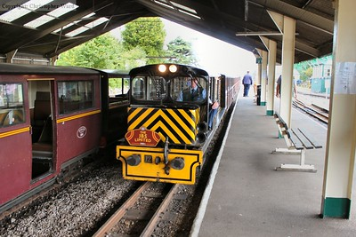 Number 12 brings the stock for a Dungeness train into the platform