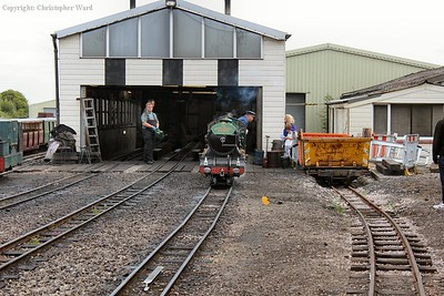 Southern Maid sits outside the shed