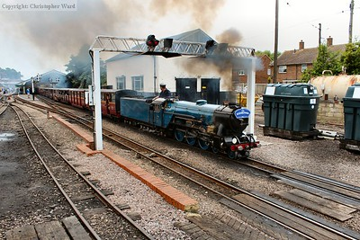 Hurricane passes under the gantry and prepares to head out across Romney Warren