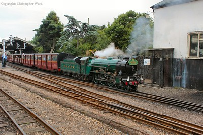 The Hythe train pulls away