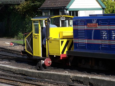 Captain Howey and Scooter in Romney yard