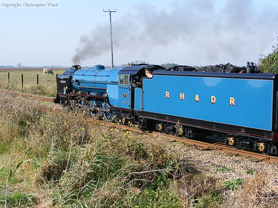 Hurricane heads out onto the Willop and accelerates her train from Hythe in the process
