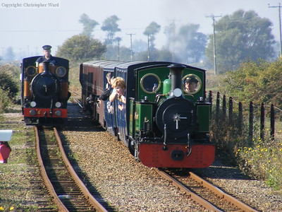 The Bug and St Egwin on the parallel run from New Romney to hythe, kicking off the gala in style