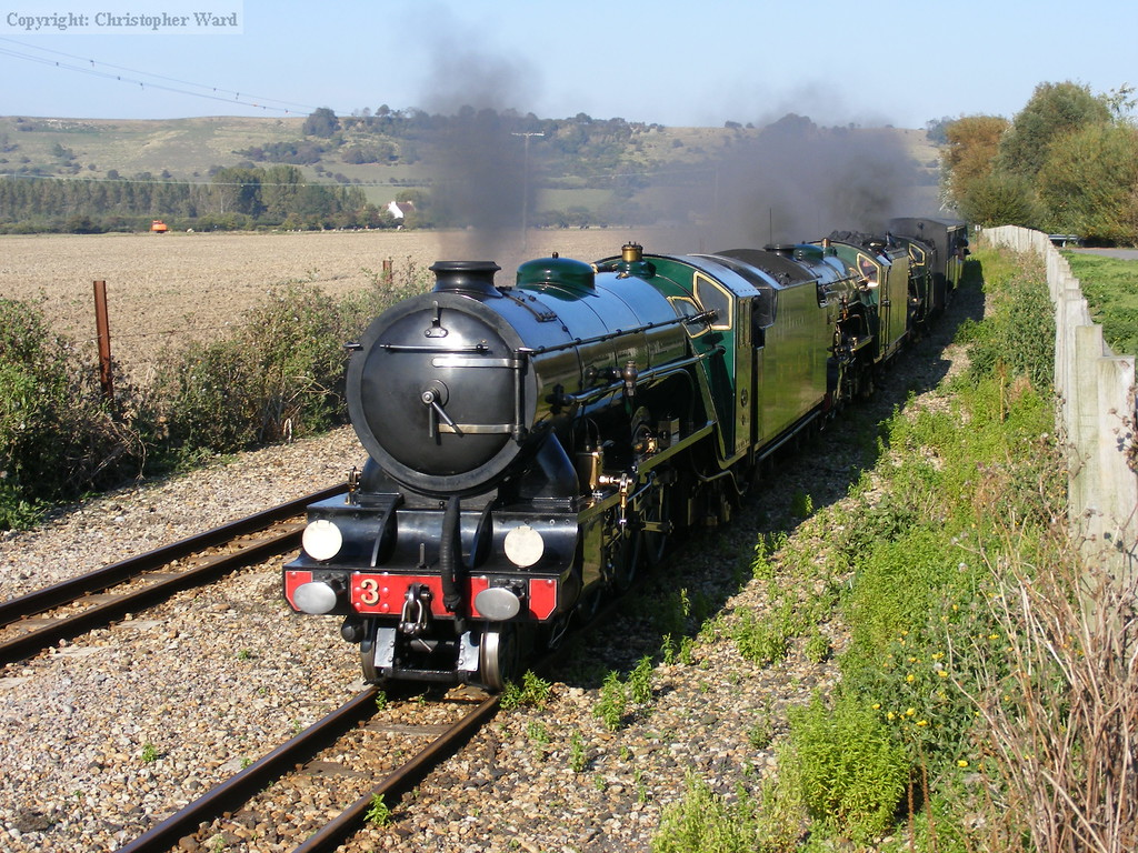 Southern Maid leads both Typhoon and Northern Chief on a New Romney train
