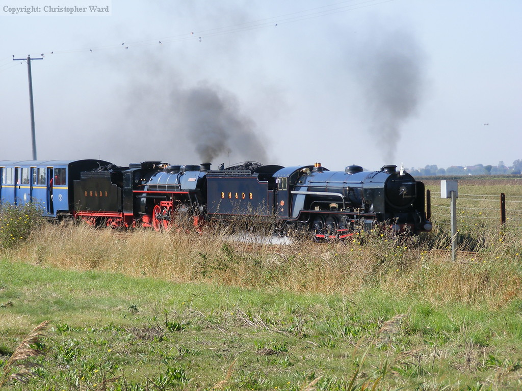 Black Prince and Samson combine forces to bring a train from Dungeness non-stop to Hythe