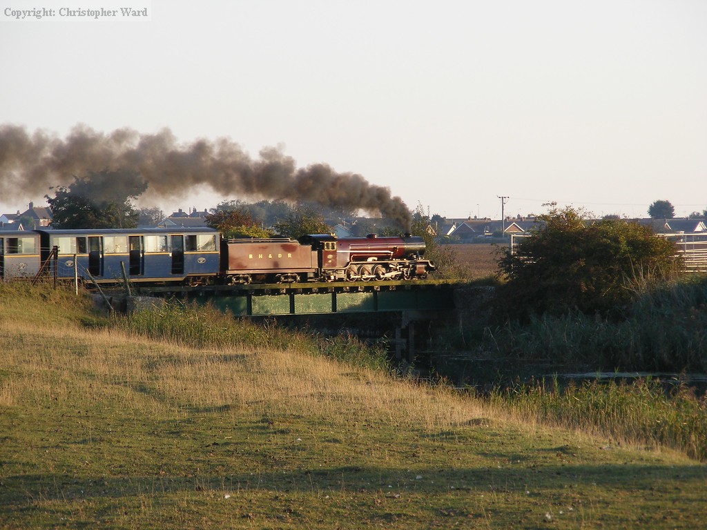 Hercules glints in the late afternoon sunshine as she heads for New Romney