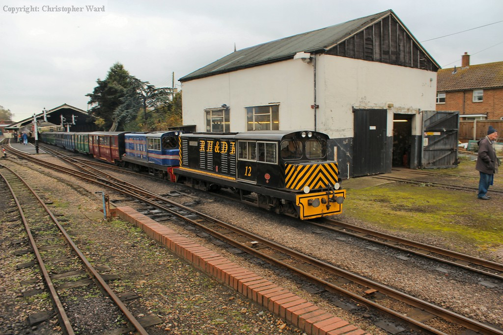"""No.12, recently renamed """"J. B. Snell"""" after a former chairman of the RHDR, leads the train away"""
