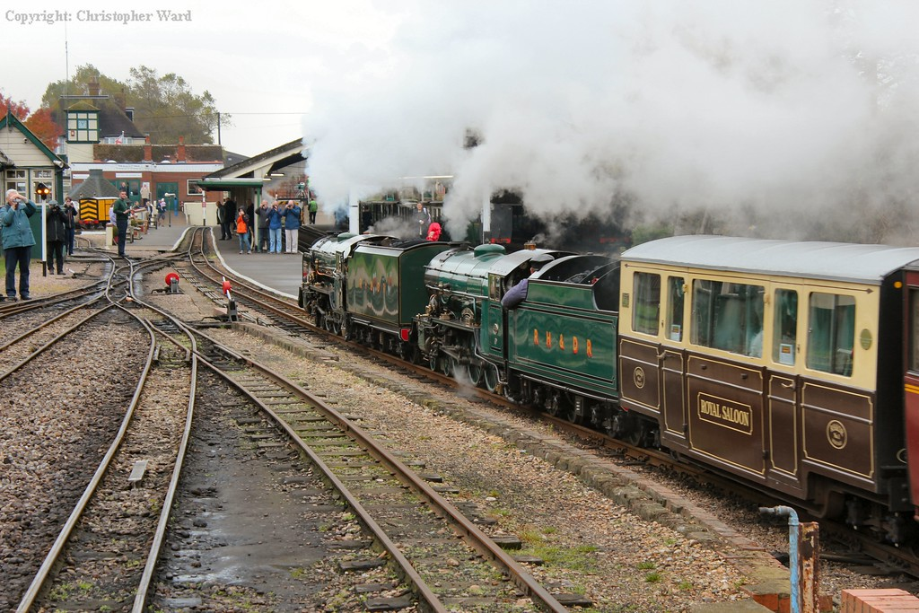 Typhoon and Southern Maid bring in a train for Dungeness