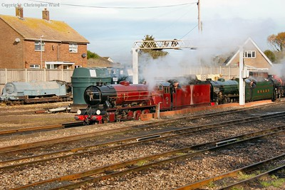 Hercules leads in an ensemble of locomotives following the early morning parallel run