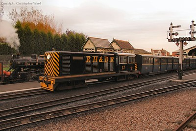 No.12 waits to take the last Hythe train out of New Romney
