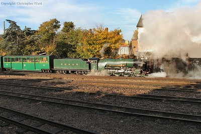 A glint from Typhoon as she shunts the stock for the Hythe train