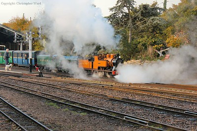 The Pacific and the 0-4-0 gets to grips with the train