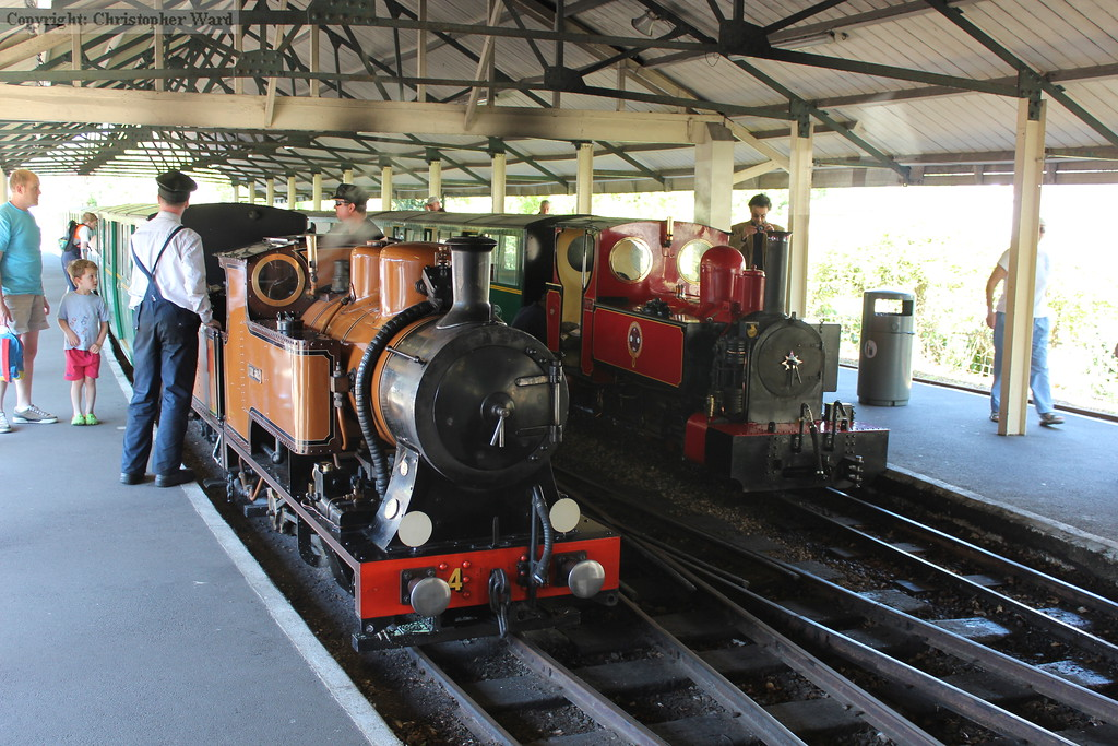 The Bug and Fox rest at Hythe having run in tandem from New Romney