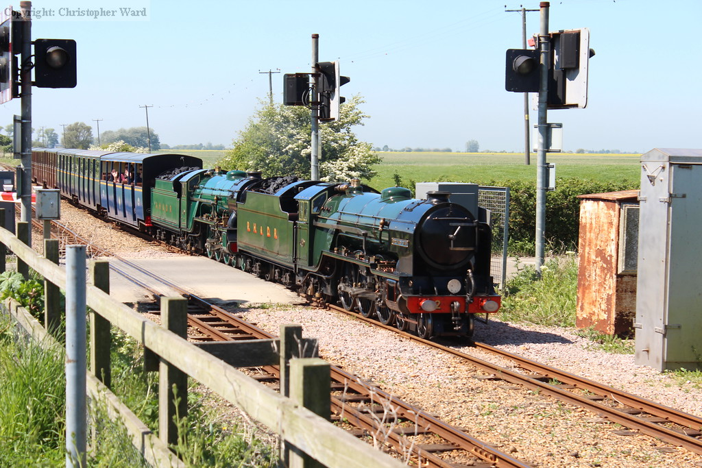 Nos. 2 and 3 combine to take a Hythe train