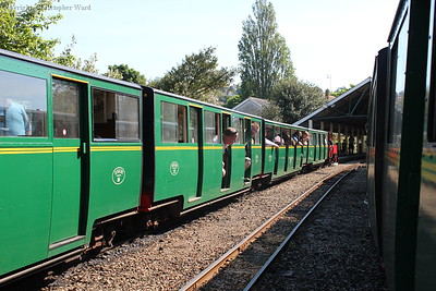 The two trains arrive at Hythe in wonderful sunshine
