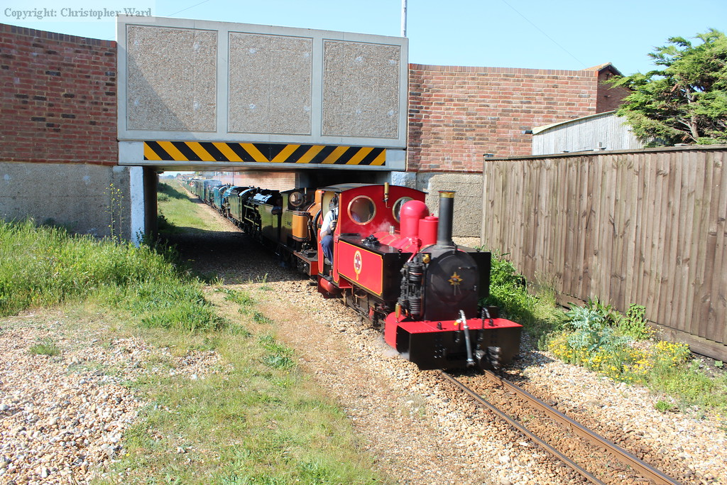 Fox and The Bug lead the five engines of the first train to Dungeness