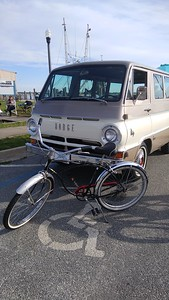 The A100 with a vintage Schwinn, at antique/classic car and boat show, on 4/20/2019