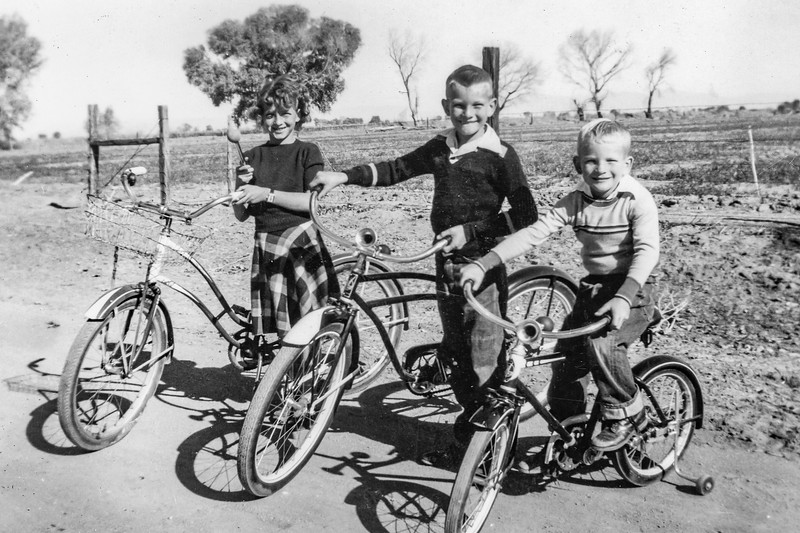 1951c Charlotte, Nollie & Ron with their Christmas Bikes_0002 (Adjusted)
