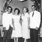 1957-07 Norris, Velva, Garrett & Charlotte at Charlotte's Wedding
