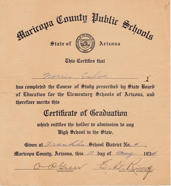 Certificate of Graduation form Franklin Elementary School