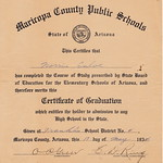 Certificate of Graduation form Franklin Elementary School