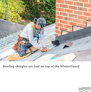 Roofing shingles are laid on top of the WinterGuard.