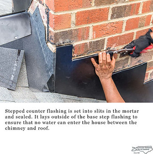 Stepped counter flashing is set into slits in the mortar and sealed. It lays outside of the base step flashing to ensure that no water can enter the house between the chimney and roof.