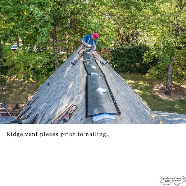 Ridge vent pieces prior to nailing.