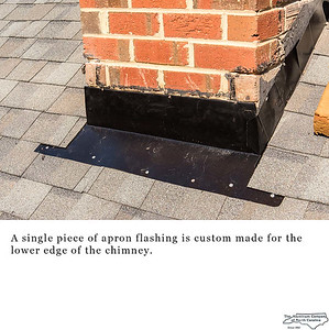 A single piece of apron flashing is custom made for the lower edge of the chimney.