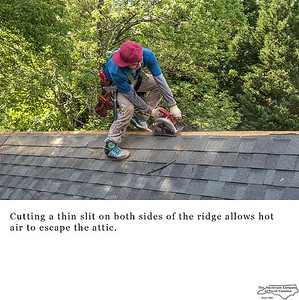 Cutting a thin slit on both sides of the ridge allows hot air to escape the attic.