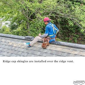 Ridge cap shingles are installed over the ridge vent.